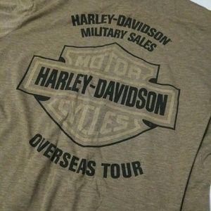 Harley-Davidson Shirts - Harley Davidson Over Seas Tour Camo Green Sz Lg